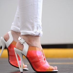 Fendi Shoes - FENDI Clear Ombre Red Orange PVC Leather Sandals